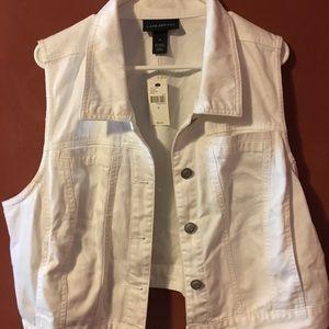 Lane Bryant White Jean Crop Jacket